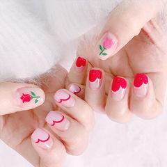 方圆形红色粉色手绘花朵心形法式美甲图片