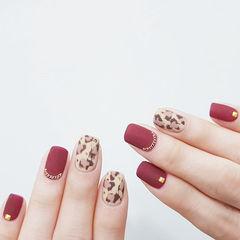 方圆形红色棕色裸色手绘豹纹磨砂美甲图片