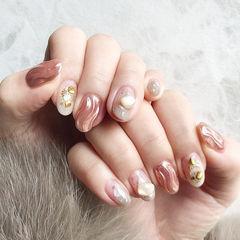 圆形玫瑰金水波纹贝壳片日式美甲图片