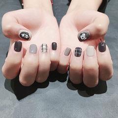 方圆形灰色裸色手绘猫咪可爱短指甲美甲图片