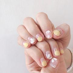 圆形黄色白色手绘雏菊圆法式美甲图片