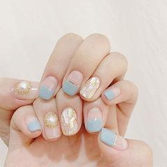 方圆形蓝色金银线平法式贝壳片珍珠美甲图片