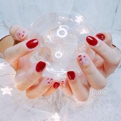 圆形红色手绘水果樱桃研习社美甲帮研习社0基础学员作品,想学加微信mjbyxs6美甲图片