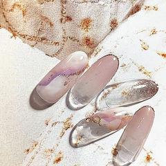 圆形粉色晕染金箔日式美甲图片
