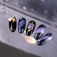圆形黑色紫色手绘晕染星空研习社美甲帮研习社作品,想学加微信mjbyxs6美甲图片