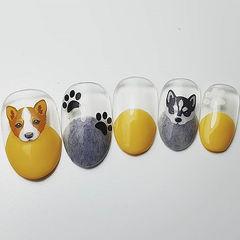圆形黄色灰色手绘小狗可爱圆法式磨砂皮草胶美甲图片
