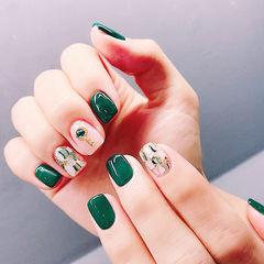 方圆形绿色贝壳片钻美甲图片