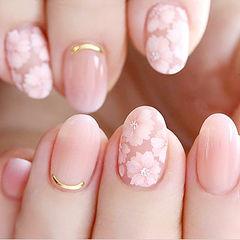 圆形裸色粉色手绘花朵春天ins美图分享,想学美甲咨询微信mjbyxs6哦~美甲图片