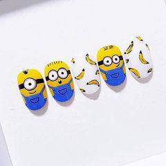 圆形蓝色黄色白色手绘卡通可爱小黄人香蕉美甲图片