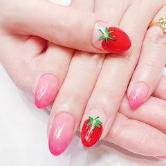 圆形粉色渐变红色手绘水果草莓ins美图分享,想学同款加微信mjbyxs6美甲图片