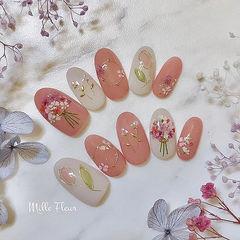 圆形红色白色干花日式春天美甲图片