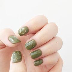 方圆形绿色心形金属饰品美甲图片