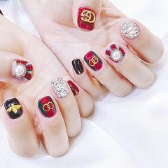 方圆形红色黑色钻珍珠金属饰品Gucci美甲图片