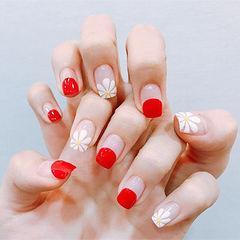 方圆形红色白色手绘雏菊圆法式ins美图分享,想学美甲咨询微信mjbyxs6哦~美甲图片