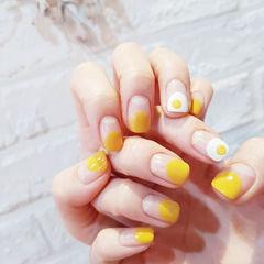 方圆形黄色手绘鸡蛋圆法式可爱美甲图片