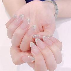 尖形裸色银色钻法式新娘ins美图分享,想学美甲咨询微信mjbyxs6哦~美甲图片