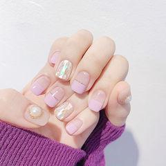 方圆形香芋紫色金银线贝壳片金箔平法式珍珠美甲图片