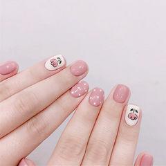 方圆形粉色白色手绘花朵波点春天ins美图分享,想学美甲咨询微信mjbyxs6哦~美甲图片