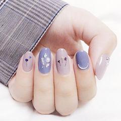 圆形紫色干花珍珠ins美图分享,想学美甲咨询微信mjbyxs6哦~美甲图片