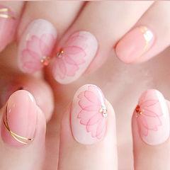 圆形粉色白色手绘花朵金银线ins美图分享,想学美甲咨询微信mjbyxs6哦~美甲图片