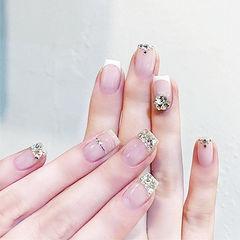 方圆形白色钻法式金银线新娘美甲图片