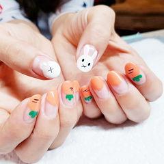 圆形橙色白色手绘兔子可爱圆法式ins美图分享,想学美甲咨询微信mjbyxs6哦~美甲图片