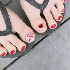 脚部红色手绘水果樱桃钻美甲图片
