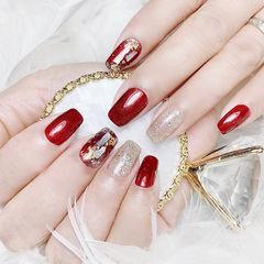 方圆形红色银色贝壳片金箔新娘跳色美甲图片