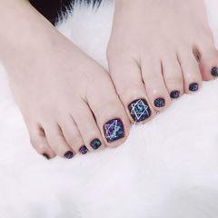 脚部黑色手绘星星转印纸美甲图片