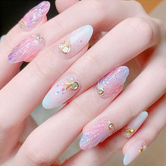 圆形粉色白色渐变贝壳夏天金属饰品日式美甲图片