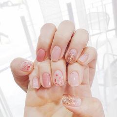 方圆形粉色金色渐变贝壳片美甲图片