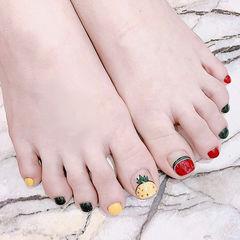脚部红色黄色绿色手绘水果跳色夏天美甲图片