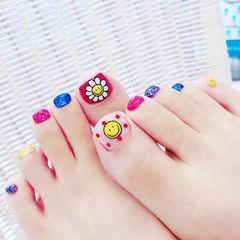 脚部玫红色蓝色黄色手绘花朵跳色笑脸夏天美甲图片