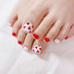 脚部红色白色手绘西瓜水果夏天ins美图分享,想学美甲咨询微信mjbyxs6哦~美甲图片