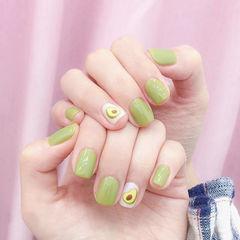 方圆形绿色手绘牛油果夏天水果美甲图片