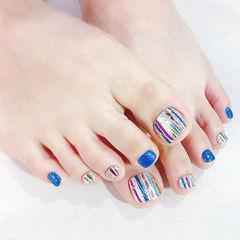 脚部蓝色银色玻璃纸韩式夏天美甲图片