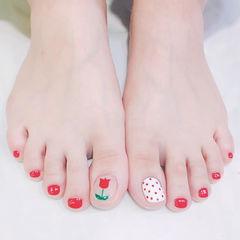 脚部红色白色手绘花朵波点ins美图分享,想学美甲咨询微信mjbyxs6哦~美甲图片