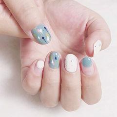 圆形蓝色白色手绘圆法式学生美甲图片