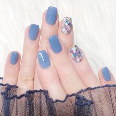 方圆形蓝色贝壳片美甲图片