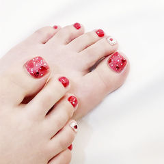 脚部红色银色亮片新娘跳色美甲图片