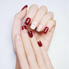 方圆形酒红色白色反法式新娘美甲图片