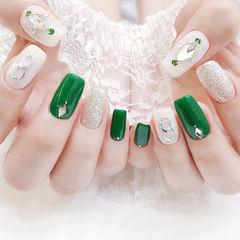 方圆形绿色白色银色钻跳色ins美图分享,想学美甲咨询微信mjbyxs6哦~美甲图片
