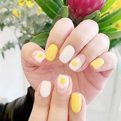方圆形黄色白色手绘鸡蛋可爱美甲图片