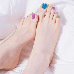 脚部蓝色紫色黄色绿色跳色夏天美甲图片