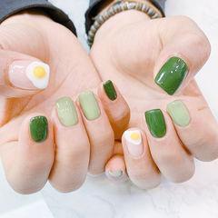 方圆形绿色黄色手绘鸡蛋法式ins美图分享,想学美甲咨询微信mjbyxs6哦~美甲图片
