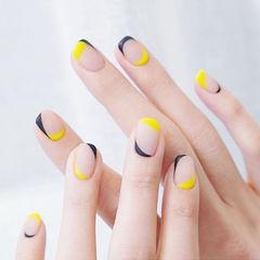 方圆形黄色黑色包边磨砂ins美图分享,想学美甲咨询微信mjbyxs6哦~美甲图片