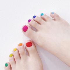 脚部红色黄色蓝色绿色橙色跳色磨砂美甲图片