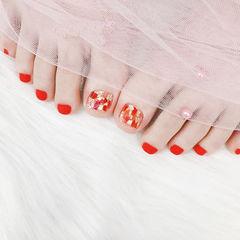 脚部红色贝壳片磨砂美甲图片