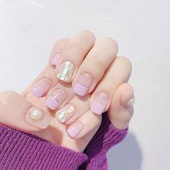 方圆形香芋紫色金银线平法式贝壳片珍珠美甲图片