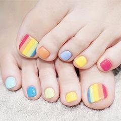 脚部橙色黄色红色蓝色手绘彩虹跳色夏天美甲图片